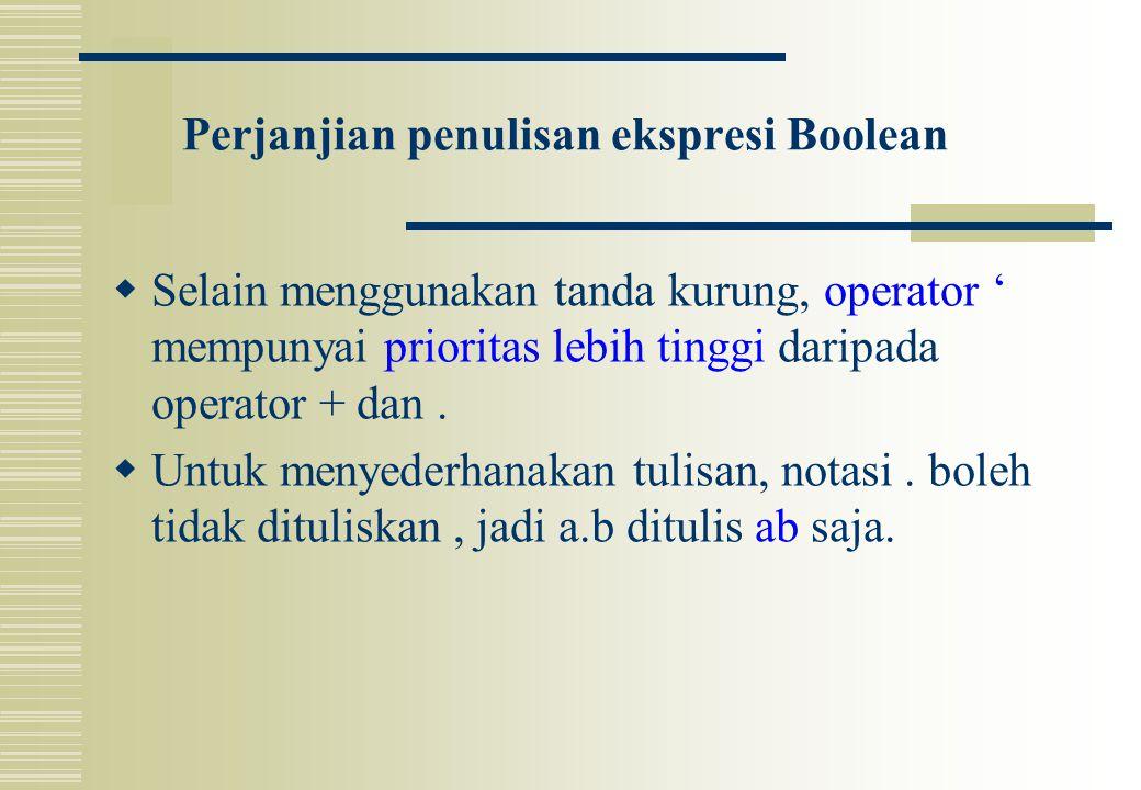 Perjanjian penulisan ekspresi Boolean  Selain menggunakan tanda kurung, operator ' mempunyai prioritas lebih tinggi daripada operator + dan.  Untuk