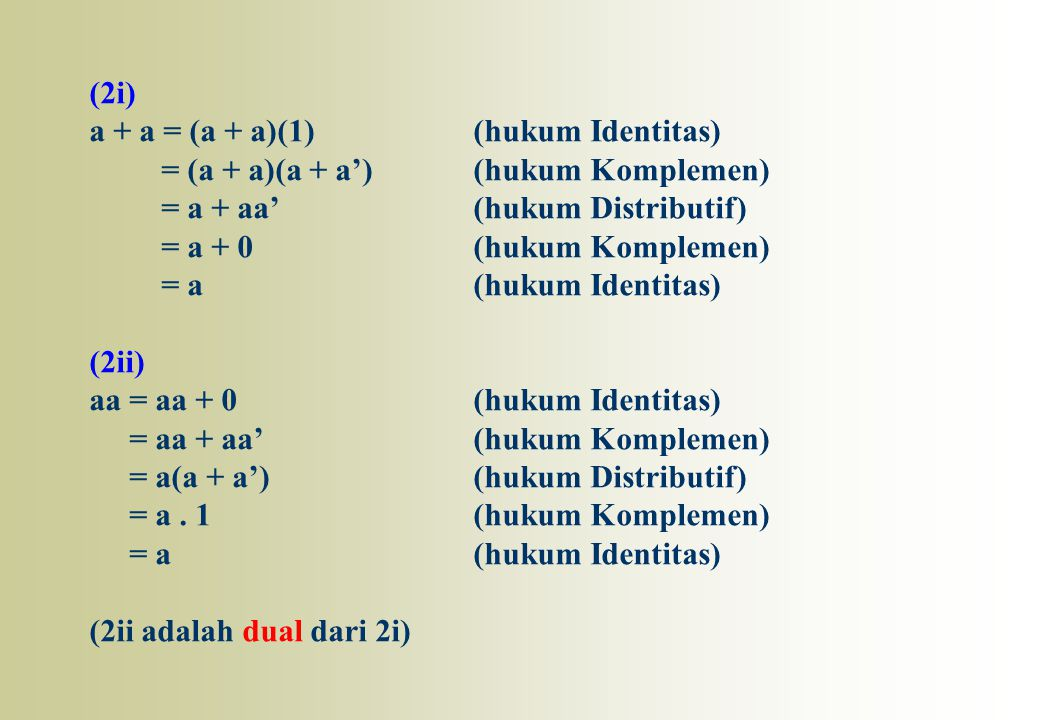(2i) a + a = (a + a)(1)(hukum Identitas) = (a + a)(a + a')(hukum Komplemen) = a + aa'(hukum Distributif) = a + 0(hukum Komplemen) = a(hukum Identitas)