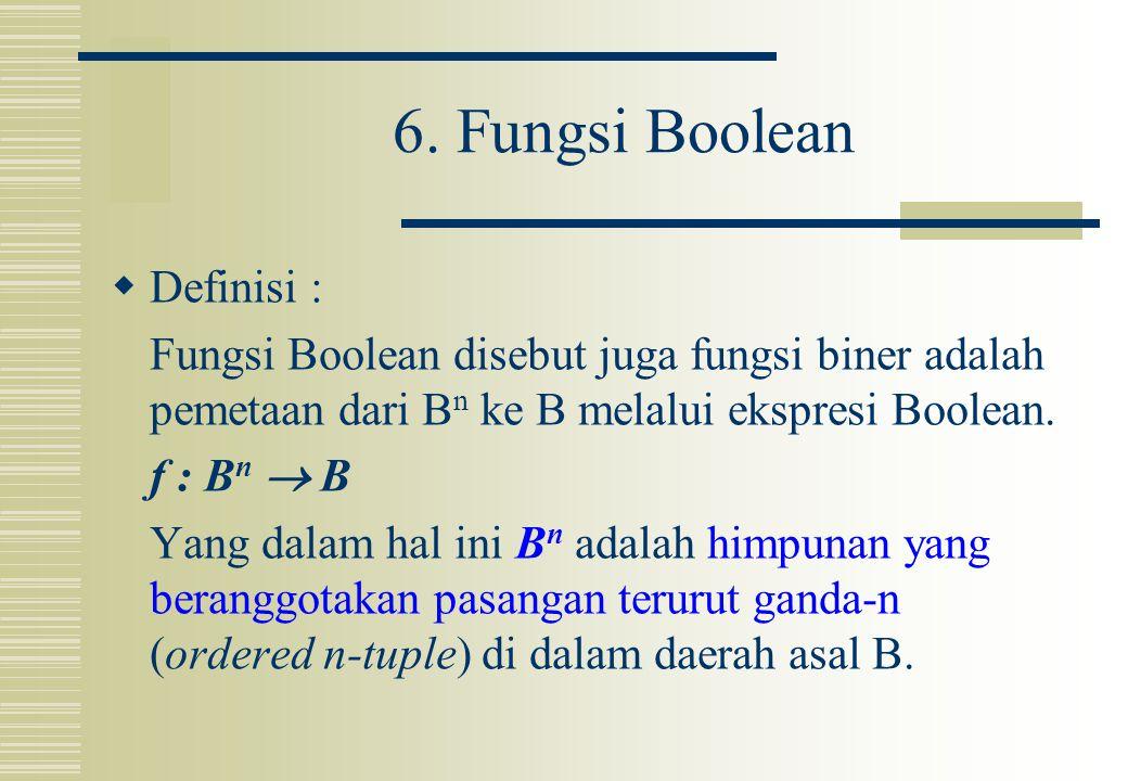 6. Fungsi Boolean  Definisi : Fungsi Boolean disebut juga fungsi biner adalah pemetaan dari B n ke B melalui ekspresi Boolean. f : B n  B Yang dalam