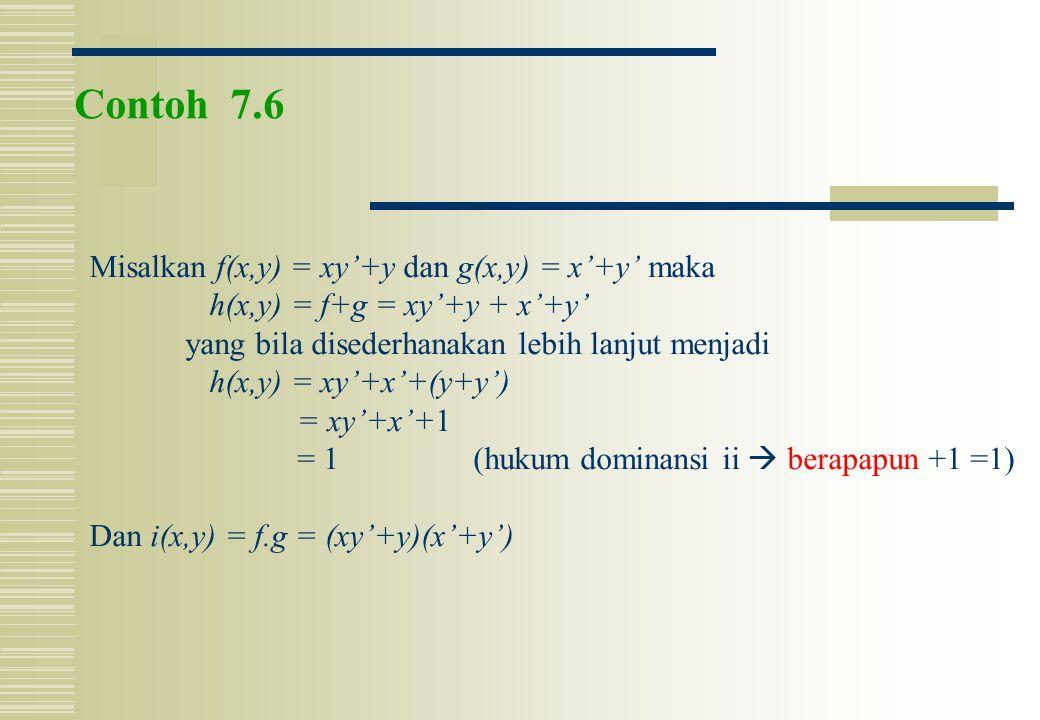 Contoh 7.6 Misalkan f(x,y) = xy'+y dan g(x,y) = x'+y' maka h(x,y) = f+g = xy'+y + x'+y' yang bila disederhanakan lebih lanjut menjadi h(x,y) = xy'+x'+