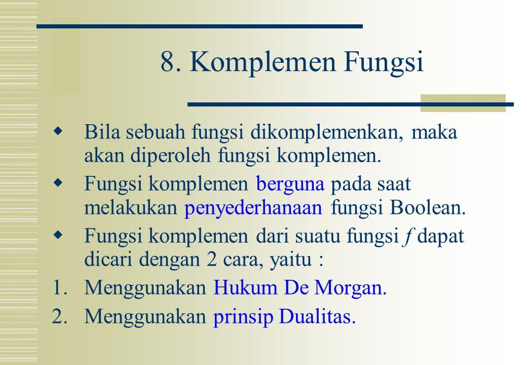 8. Komplemen Fungsi  Bila sebuah fungsi dikomplemenkan, maka akan diperoleh fungsi komplemen.  Fungsi komplemen berguna pada saat melakukan penyeder