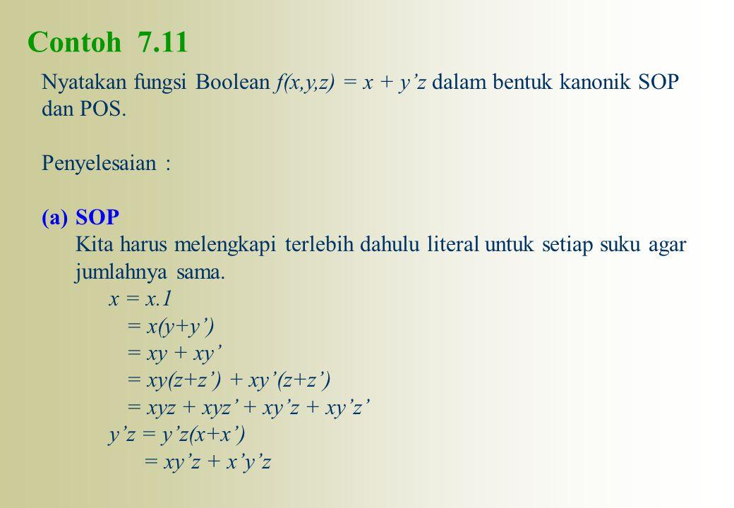 Contoh 7.11 Nyatakan fungsi Boolean f(x,y,z) = x + y'z dalam bentuk kanonik SOP dan POS. Penyelesaian : (a)SOP Kita harus melengkapi terlebih dahulu l