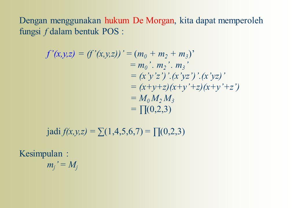Dengan menggunakan hukum De Morgan, kita dapat memperoleh fungsi f dalam bentuk POS : f'(x,y,z) = (f'(x,y,z))' = (m 0 + m 2 + m 3 )' = m 0 '. m 2 '. m