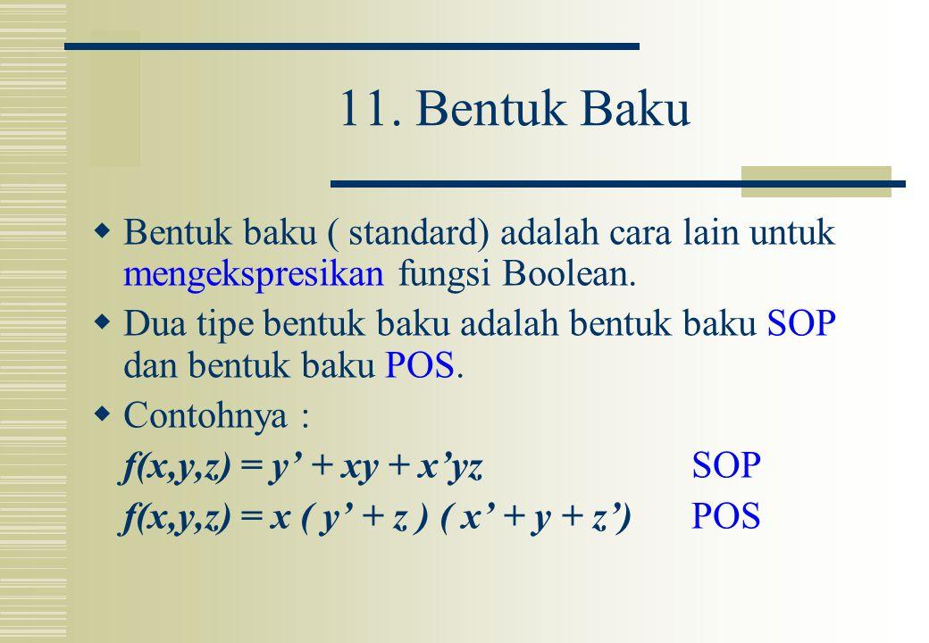11. Bentuk Baku  Bentuk baku ( standard) adalah cara lain untuk mengekspresikan fungsi Boolean.  Dua tipe bentuk baku adalah bentuk baku SOP dan ben