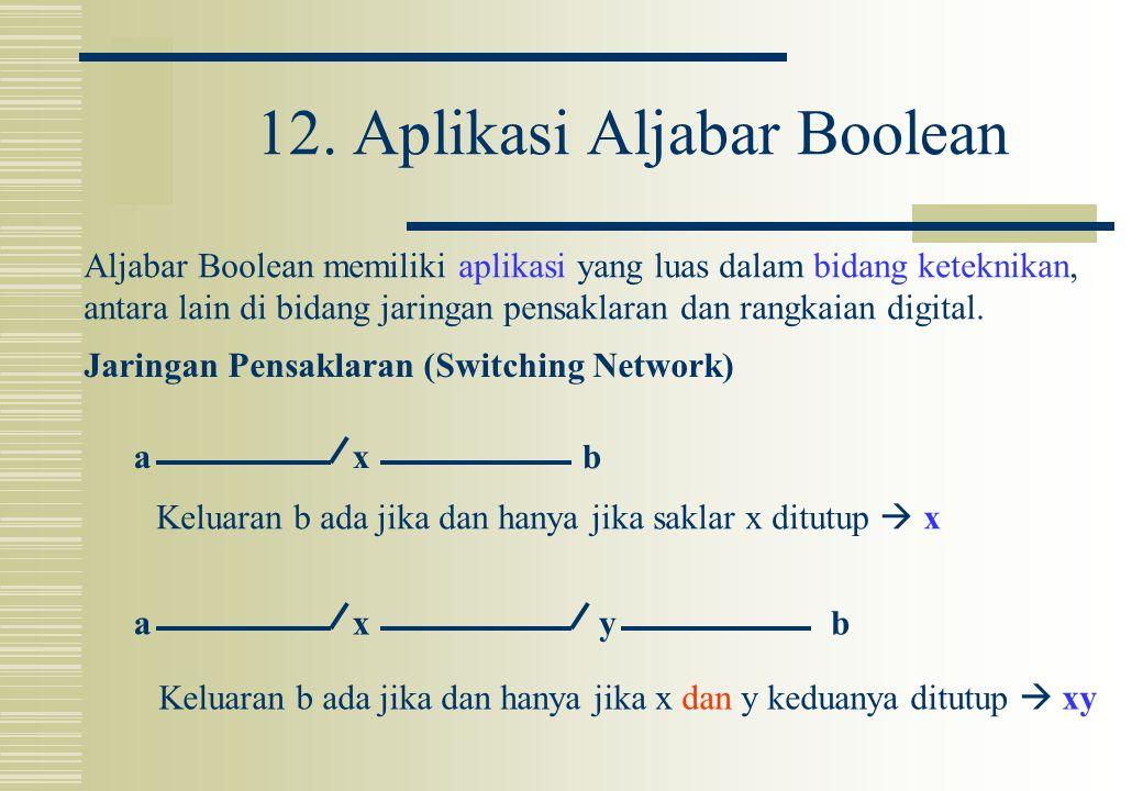 12. Aplikasi Aljabar Boolean Aljabar Boolean memiliki aplikasi yang luas dalam bidang keteknikan, antara lain di bidang jaringan pensaklaran dan rangk