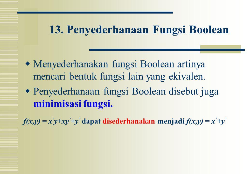 13. Penyederhanaan Fungsi Boolean  Menyederhanakan fungsi Boolean artinya mencari bentuk fungsi lain yang ekivalen.  Penyederhanaan fungsi Boolean d