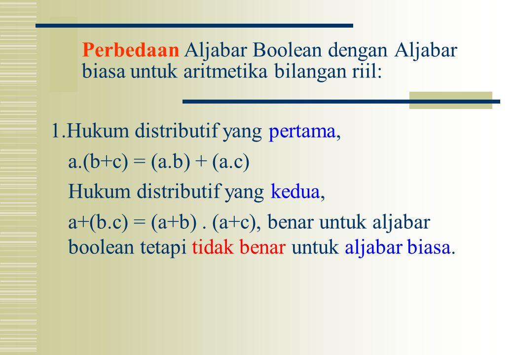 Perbedaan Aljabar Boolean dengan Aljabar biasa untuk aritmetika bilangan riil: 1.Hukum distributif yang pertama, a.(b+c) = (a.b) + (a.c) Hukum distrib