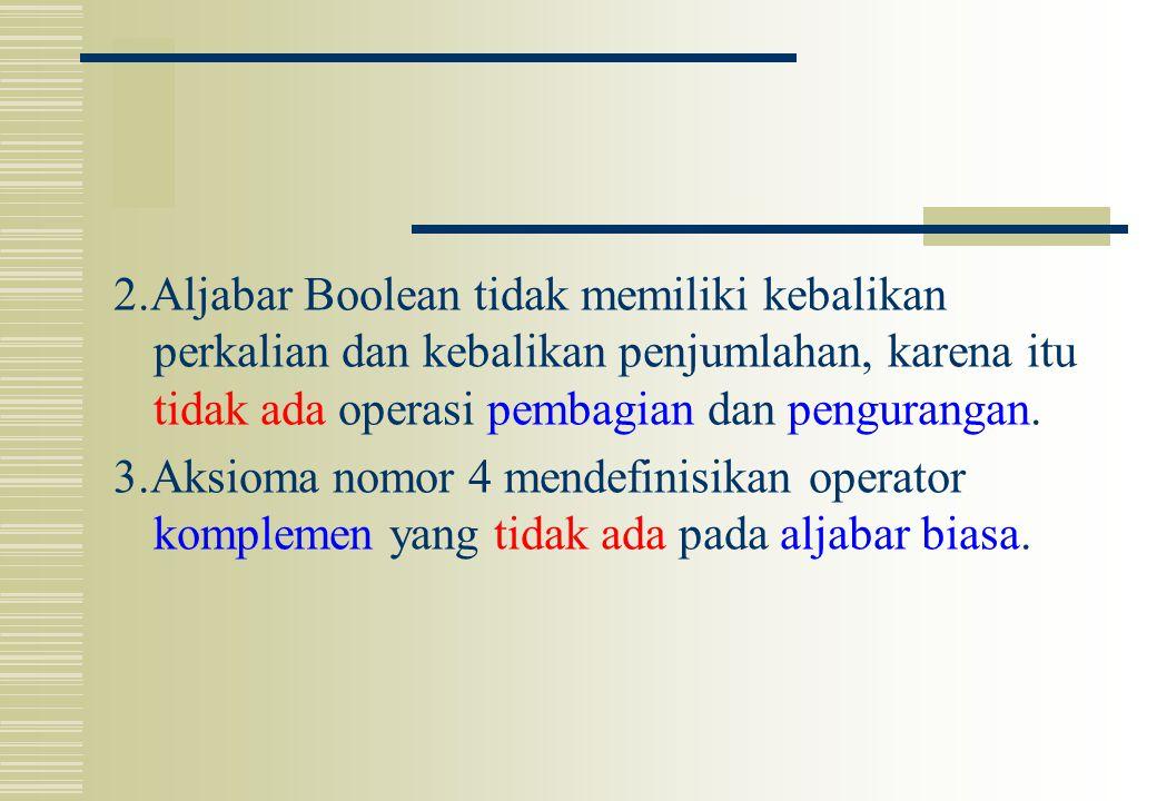 2.Aljabar Boolean tidak memiliki kebalikan perkalian dan kebalikan penjumlahan, karena itu tidak ada operasi pembagian dan pengurangan. 3.Aksioma nomo