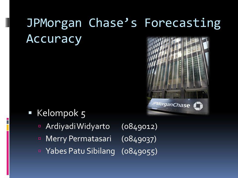 JPMorgan Chase's Forecasting Accuracy  Kelompok 5  Ardiyadi Widyarto(0849012)  Merry Permatasari(0849037)  Yabes Patu Sibilang(0849055)