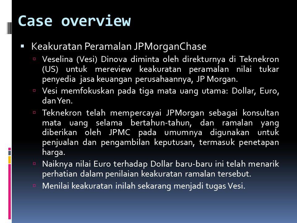 Case overview  Keakuratan Peramalan JPMorganChase  Veselina (Vesi) Dinova diminta oleh direkturnya di Teknekron (US) untuk mereview keakuratan peram