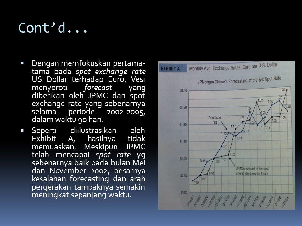 Cont'd...  Dengan memfokuskan pertama- tama pada spot exchange rate US Dollar terhadap Euro, Vesi menyoroti forecast yang diberikan oleh JPMC dan spo