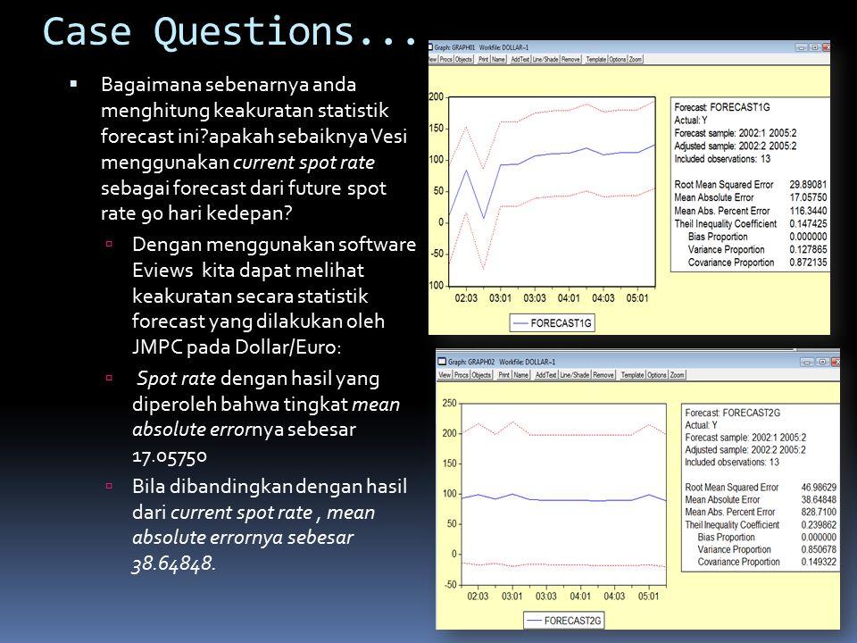 Case Questions...  Bagaimana sebenarnya anda menghitung keakuratan statistik forecast ini?apakah sebaiknya Vesi menggunakan current spot rate sebagai