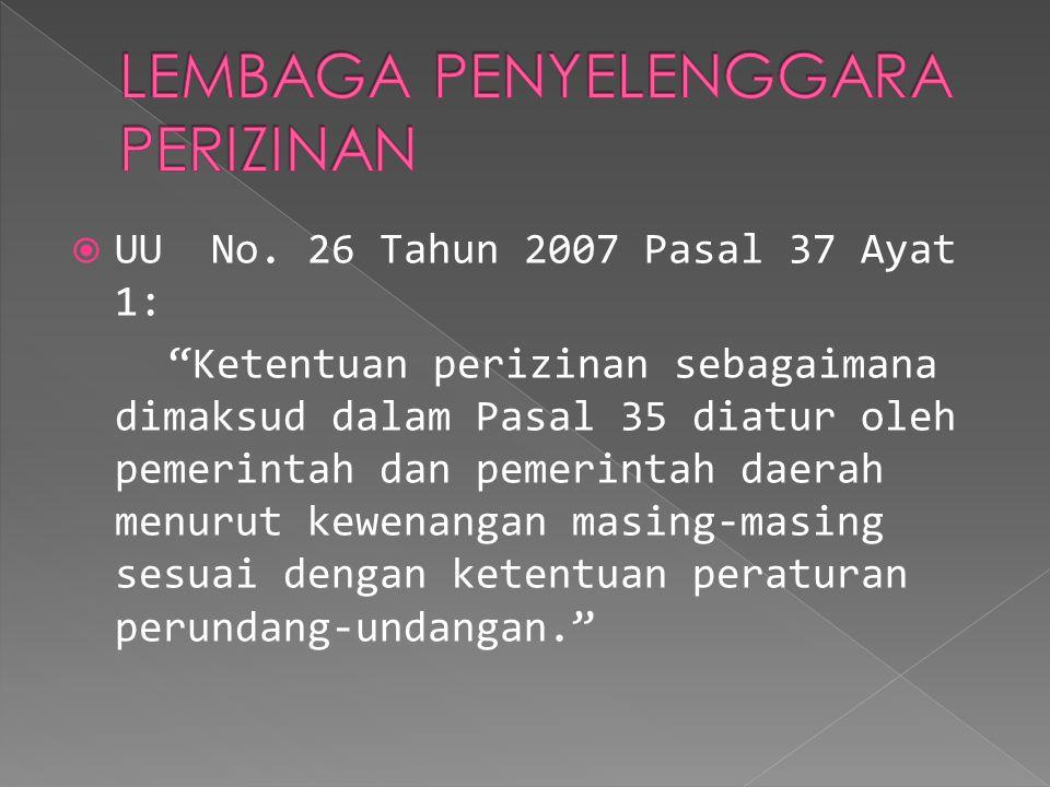 " UU No. 26 Tahun 2007 Pasal 37 Ayat 1: ""Ketentuan perizinan sebagaimana dimaksud dalam Pasal 35 diatur oleh pemerintah dan pemerintah daerah menurut"