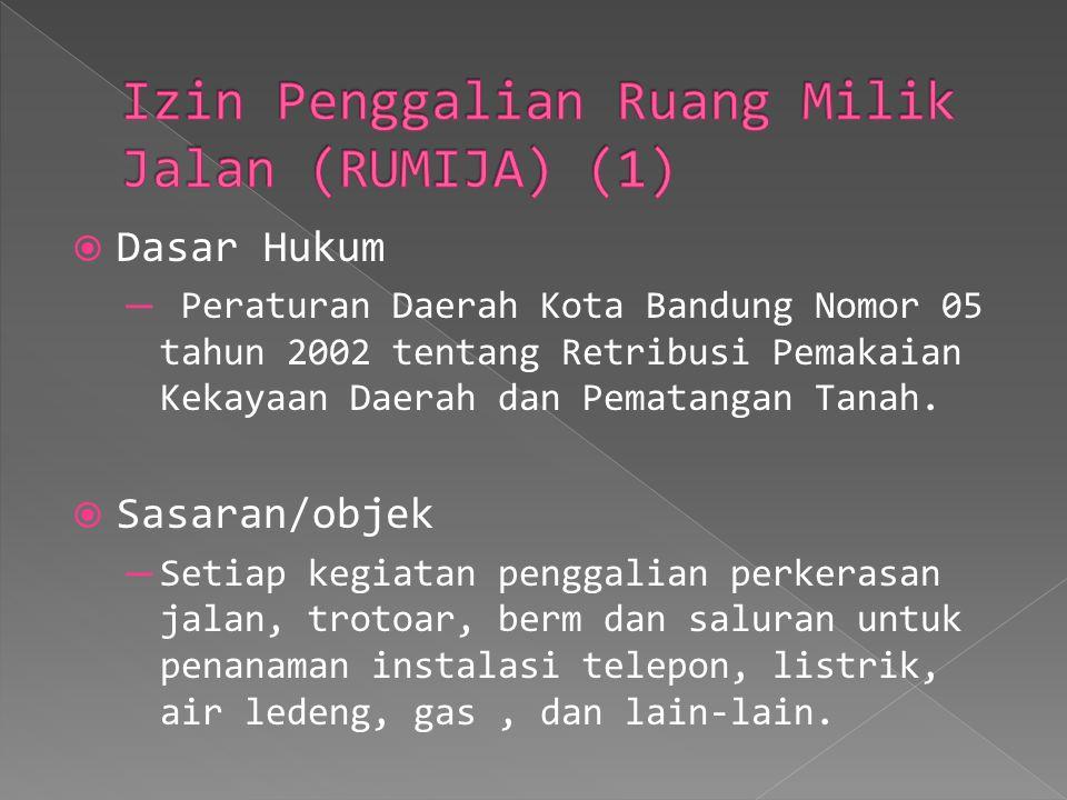  Dasar Hukum ─ Peraturan Daerah Kota Bandung Nomor 05 tahun 2002 tentang Retribusi Pemakaian Kekayaan Daerah dan Pematangan Tanah.  Sasaran/objek ─