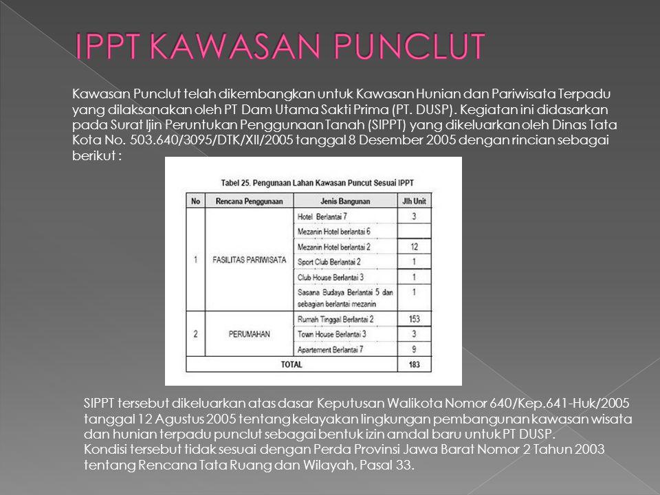 Kawasan Punclut telah dikembangkan untuk Kawasan Hunian dan Pariwisata Terpadu yang dilaksanakan oleh PT Dam Utama Sakti Prima (PT. DUSP). Kegiatan in