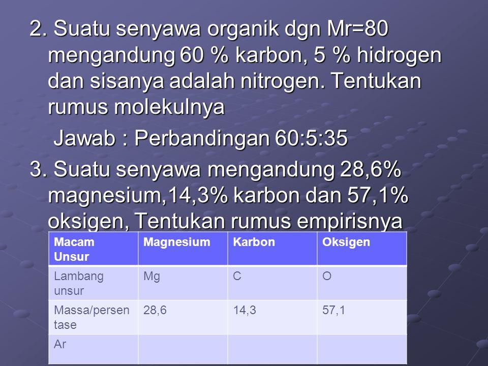 2. Suatu senyawa organik dgn Mr=80 mengandung 60 % karbon, 5 % hidrogen dan sisanya adalah nitrogen. Tentukan rumus molekulnya Jawab : Perbandingan 60