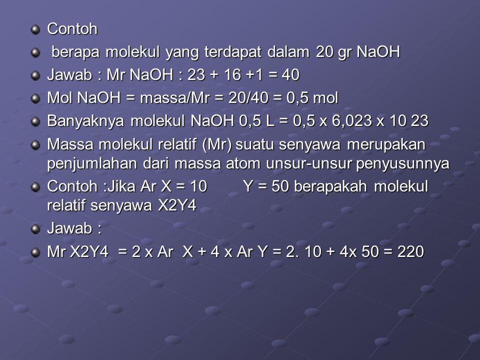 Contoh berapa molekul yang terdapat dalam 20 gr NaOH berapa molekul yang terdapat dalam 20 gr NaOH Jawab : Mr NaOH : 23 + 16 +1 = 40 Mol NaOH = massa/