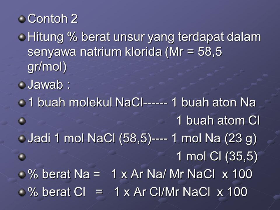 Contoh 2 Hitung % berat unsur yang terdapat dalam senyawa natrium klorida (Mr = 58,5 gr/mol) Jawab : 1 buah molekul NaCl------ 1 buah aton Na 1 buah a