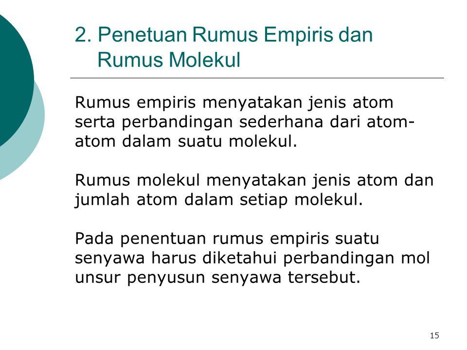 15 2. Penetuan Rumus Empiris dan Rumus Molekul Rumus empiris menyatakan jenis atom serta perbandingan sederhana dari atom- atom dalam suatu molekul. R