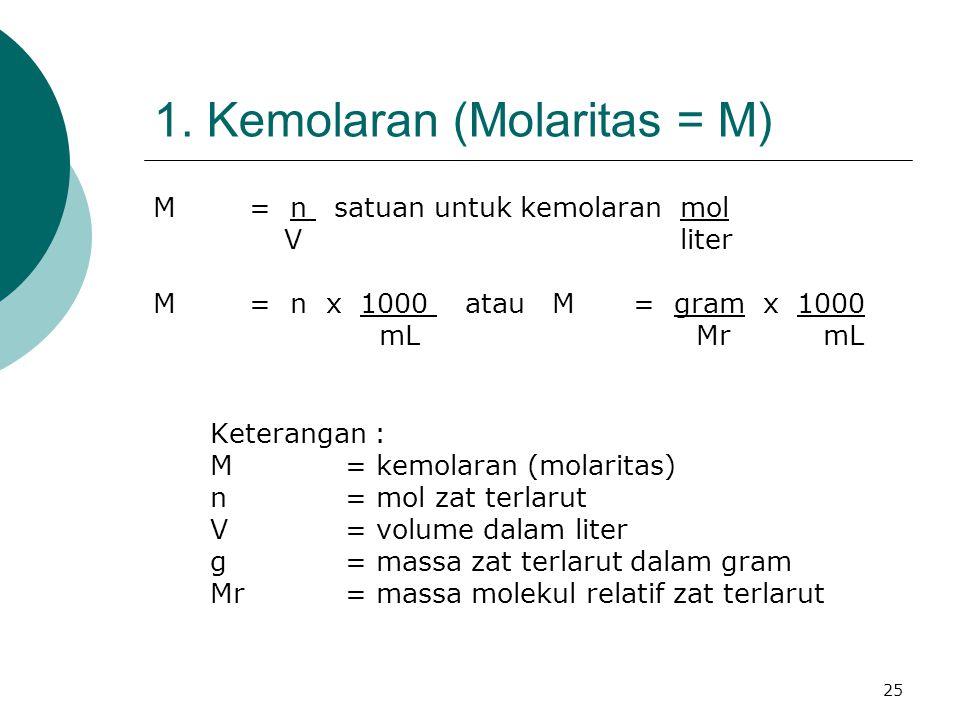 25 1. Kemolaran (Molaritas = M) M = n satuan untuk kemolaran mol V liter M= n x 1000 atau M= gram x 1000 mL Mr mL Keterangan : M= kemolaran (molaritas