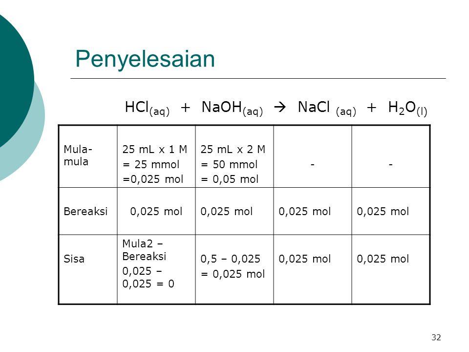 32 Penyelesaian HCl (aq) + NaOH (aq)  NaCl (aq) + H 2 O (l ) Mula- mula 25 mL x 1 M = 25 mmol =0,025 mol 25 mL x 2 M = 50 mmol = 0,05 mol -- Bereaksi