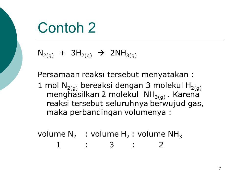 7 Contoh 2 N 2(g) + 3H 2(g)  2NH 3(g) Persamaan reaksi tersebut menyatakan : 1 mol N 2(g) bereaksi dengan 3 molekul H 2(g) menghasilkan 2 molekul NH 3(g).