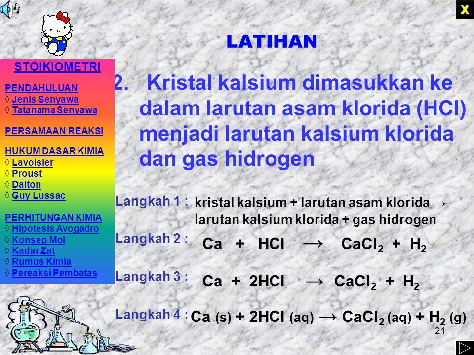20 LATIHAN 1.Belerang dibakar di udara (direaksikan dengan gas oksigen) menghasilkan gas belerang dioksida Langkah 1 : Langkah 2 : Langkah 3 : Langkah 4 : XXXX belerang + gas oksigen → gas belerang dioksida S + O 2 → SO 2 S (s) + O 2 (g) → SO 2 (g) STOIKIOMETRI PENDAHULUAN ◊ Jenis Senyawa Jenis Senyawa ◊ Tatanama Senyawa Tatanama Senyawa PERSAMAAN REAKSI HUKUM DASAR KIMIA ◊ LavoisierLavoisier ◊ ProustProust ◊ DaltonDalton ◊ Guy LussacGuy Lussac PERHITUNGAN KIMIA ◊ Hipotesis Avogadro Hipotesis Avogadro ◊ Konsep MolKonsep Mol ◊ Kadar ZatKadar Zat ◊ Rumus KimiaRumus Kimia ◊ Pereaksi PembatasPereaksi Pembatas