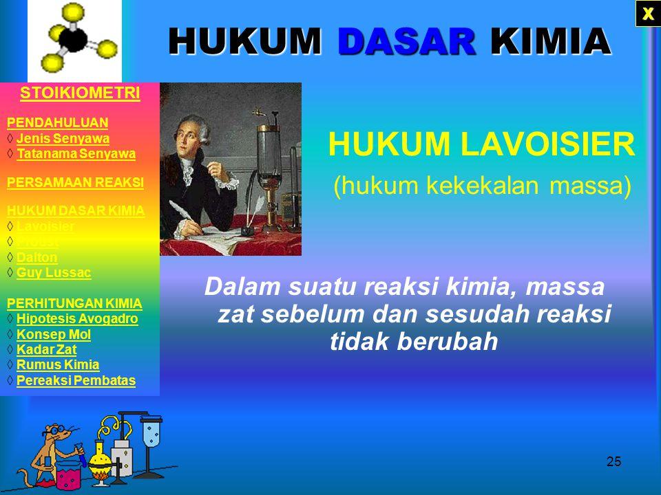 24 Em..ya sama dong! Kalo Massa sebelum dan susudah reaksi sama ngga ya? Mr. Lavoisier Kalo perbandingan unsur-unsur yang menyusun senyawa, ada ngga?