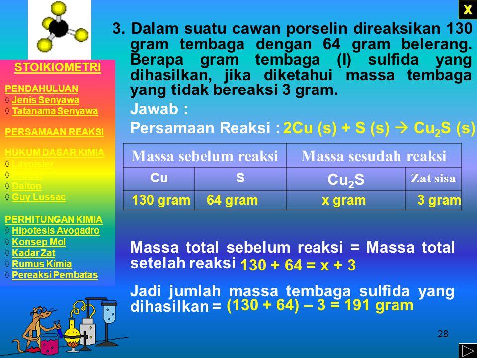 27 2. Pada pembakaran 12 gram magnesium dengan 10 gram gas oksigen, dihasilkan 20 gram magnesium oksida dan sisa gas oksigen 2 gram. Gunakan data ters