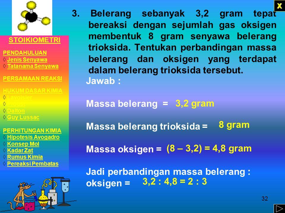 31 2. Air terbentuk dari unsur hidrogen dan oksigen dengan perbandingan massa 1 : 8. Apabila tersedia 4,0 gram hidrogen, berapa gram oksigen yang dipe