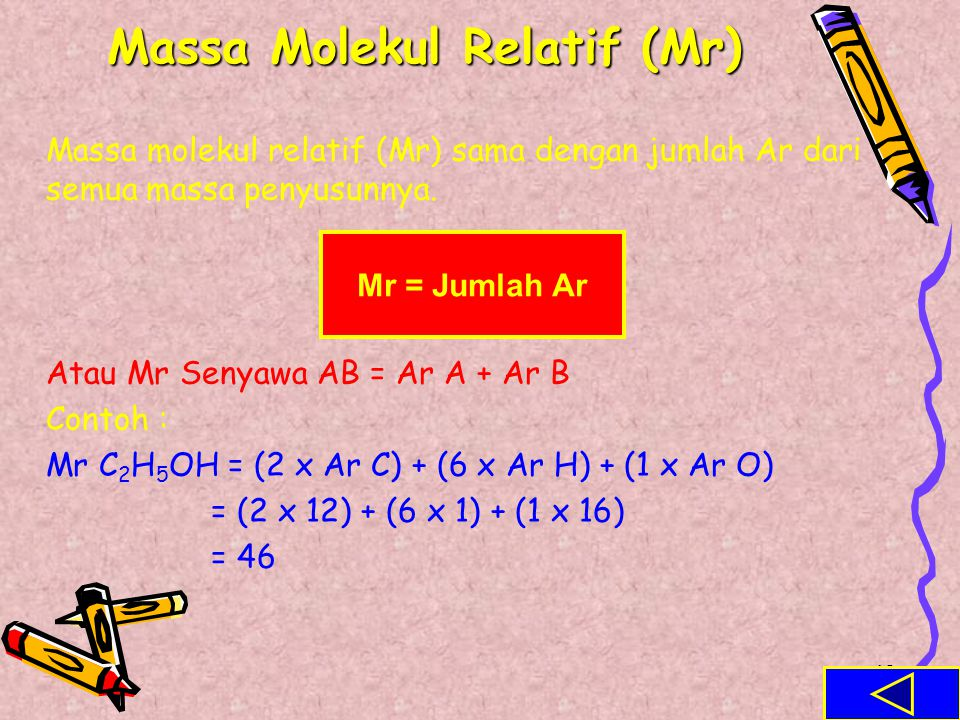 47 Massa Atom Relatif (Ar) Beberapa data Ar unsur : UnsurArUnsurArUnsurArUnsurAr Al27Au197K39O16 Ba137P31Na23Mg24 Br80F19Ca40N14 Fe56H1C12Cu63.5 S32I1