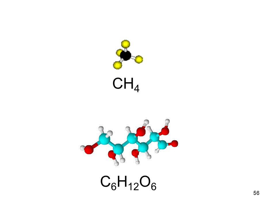 55 Contoh rumus molekul : XXXX NamaRumus Molekul Model MolekulArti MetanaCH 4 Tiap molekul metana terdiri atas 1 atom C dan 4 atom H AmoniakNH 3 Tiap