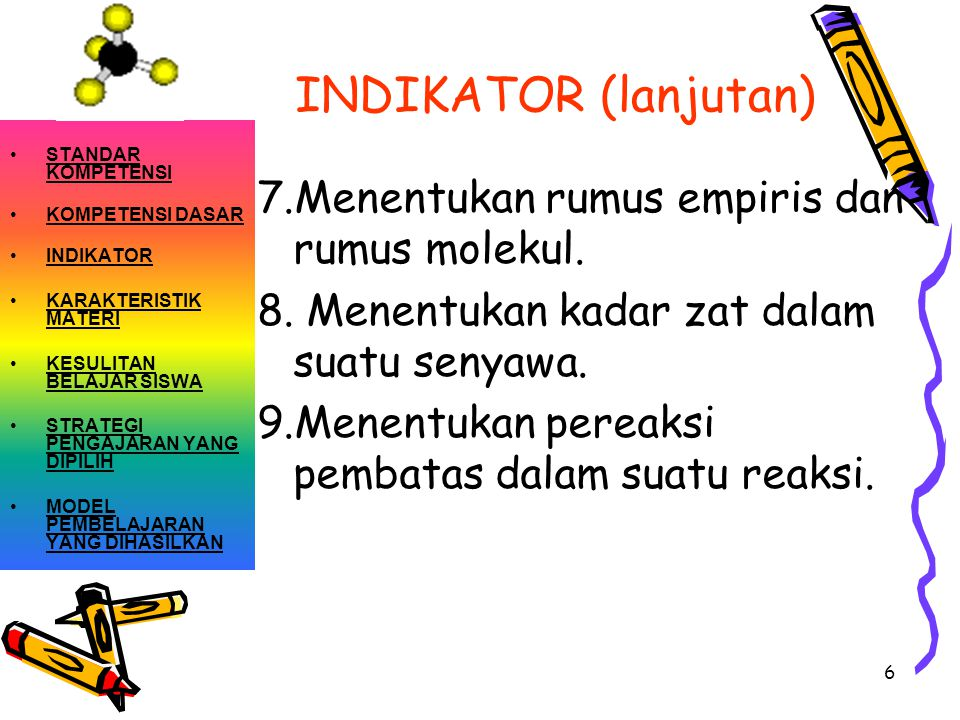 INDIKATOR (lanjutan) 7.Menentukan rumus empiris dan rumus molekul.