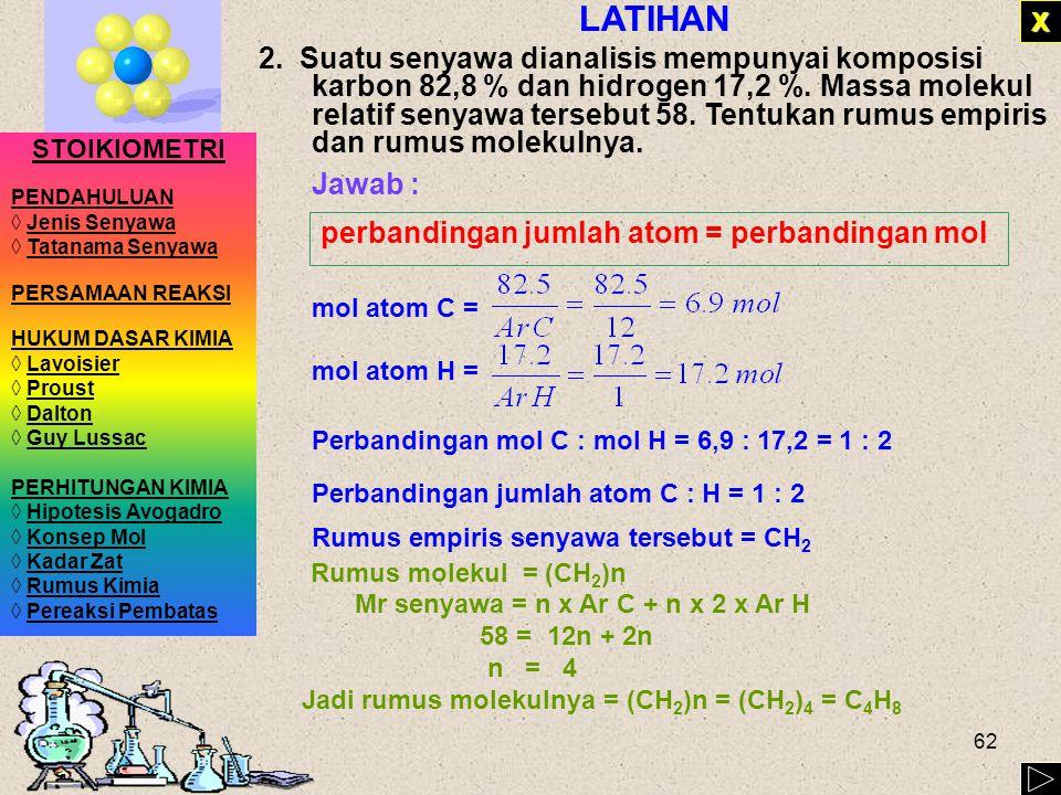 61 CONTOH 1.Hasil analisis kimia yang dilakukan terhadap senyawa hidrazin ( Mr = 32) ditemukan bahwa senyawa tersebut terdiri atas 87,42 % massa N dan 12,48 % massa H.
