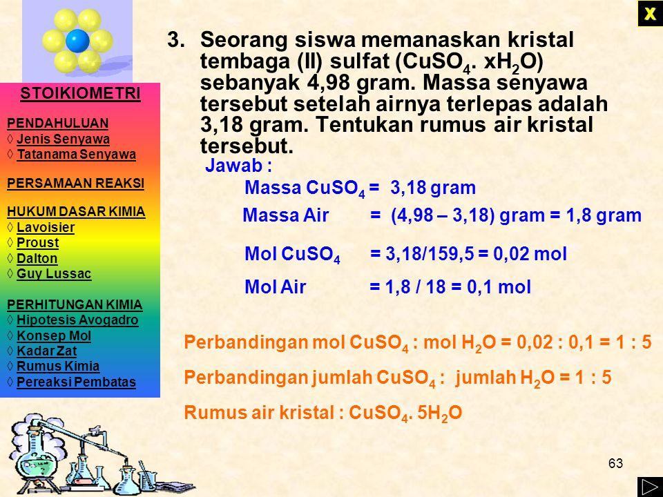 62 mol atom C = mol atom H = XXXX LATIHAN 2. Suatu senyawa dianalisis mempunyai komposisi karbon 82,8 % dan hidrogen 17,2 %. Massa molekul relatif sen