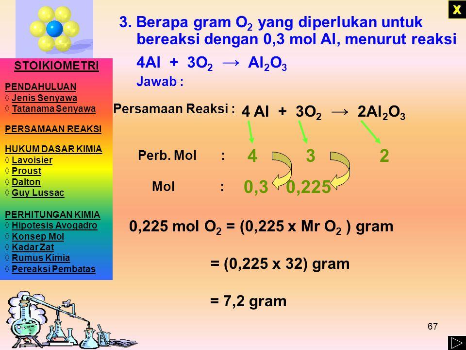 66 XXXX 2. Berapa mol karbon dioksida dan uap air yang dihasilkan bila 1,8 mol C 2 H 5 OH dibakar menurut reaksi C 2 H 5 OH + 3O 2 → 2CO 2 + 3H 2 O Ja