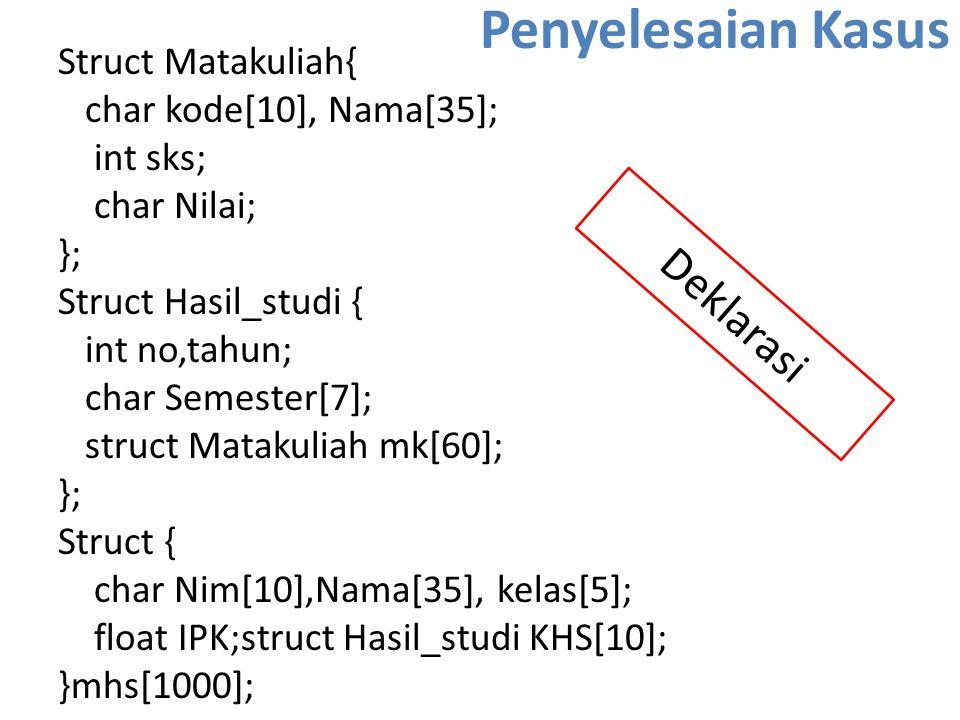 Penyelesaian Kasus Struct Matakuliah{ char kode[10], Nama[35]; int sks; char Nilai; }; Struct Hasil_studi { int no,tahun; char Semester[7]; struct Mat