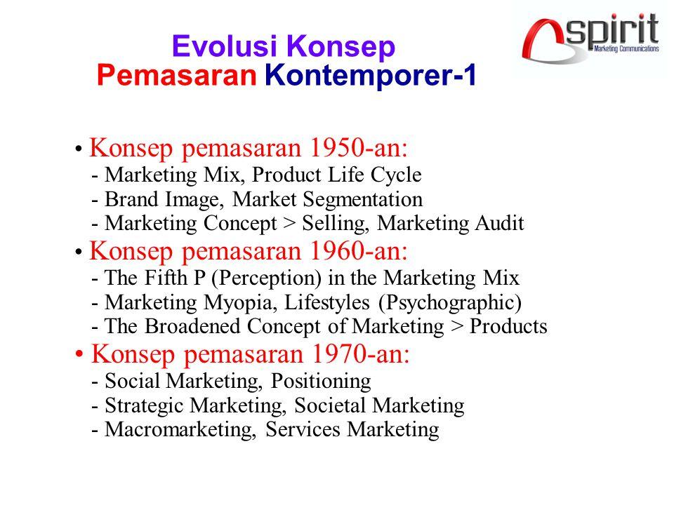 Evolusi Konsep Pemasaran Kontemporer-1 Konsep pemasaran 1950-an: - Marketing Mix, Product Life Cycle - Brand Image, Market Segmentation - Marketing Concept > Selling, Marketing Audit Konsep pemasaran 1960-an: - The Fifth P (Perception) in the Marketing Mix - Marketing Myopia, Lifestyles (Psychographic) - The Broadened Concept of Marketing > Products Konsep pemasaran 1970-an: - Social Marketing, Positioning - Strategic Marketing, Societal Marketing - Macromarketing, Services Marketing