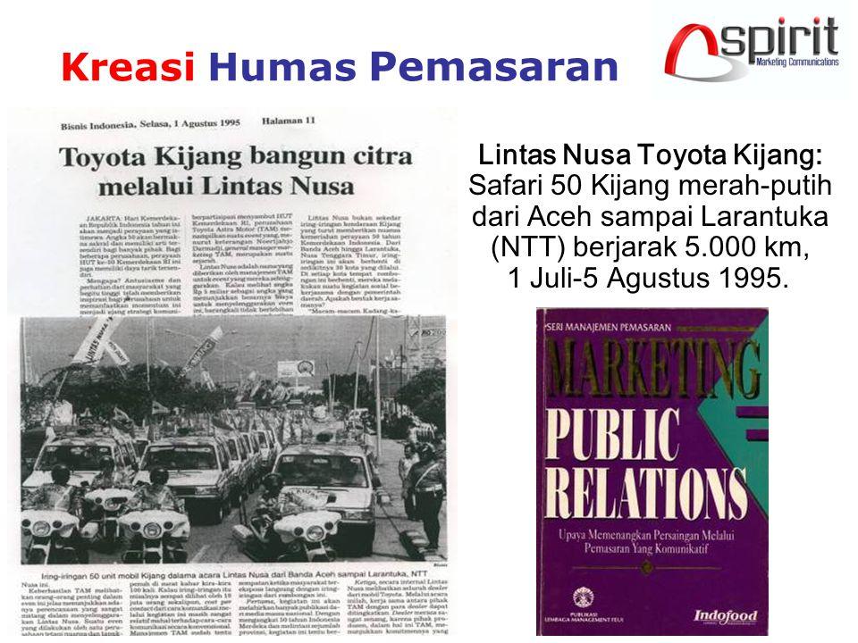 Kreasi Humas Pemasaran Lintas Nusa Toyota Kijang: Safari 50 Kijang merah-putih dari Aceh sampai Larantuka (NTT) berjarak 5.000 km, 1 Juli-5 Agustus 1995.