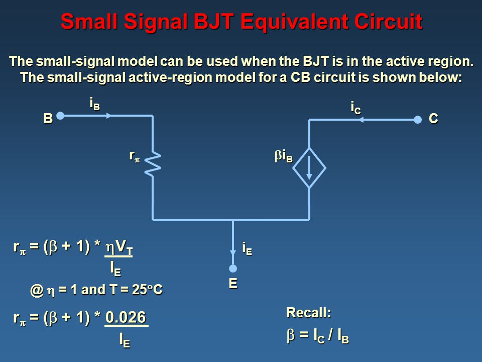 Small Signal BJT Equivalent Circuit The small-signal model can be used when the BJT is in the active region. The small-signal active-region model for