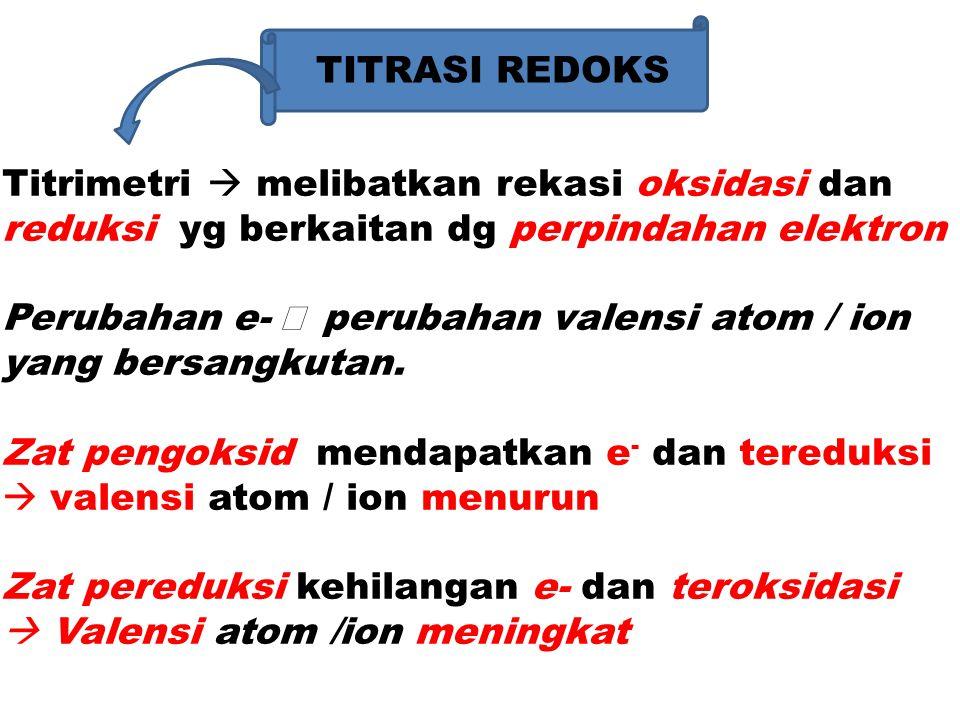 Contoh : Perubahan dari : Fe 2+  Fe 3+ +2  +3 Cl -  Cl 2 -1  0 reaksi oksidasi Cu  Cu 2+ 0  +2 Prinsip reaksi redoks (Reduksi – Oksidasi) Ox 1 + Red 2  Red 1 + Ok 2 Tereduksi teroksidasi Proses oksidasi – reduksi terjadi bersama sama pada pelaksanaan TITRASI.