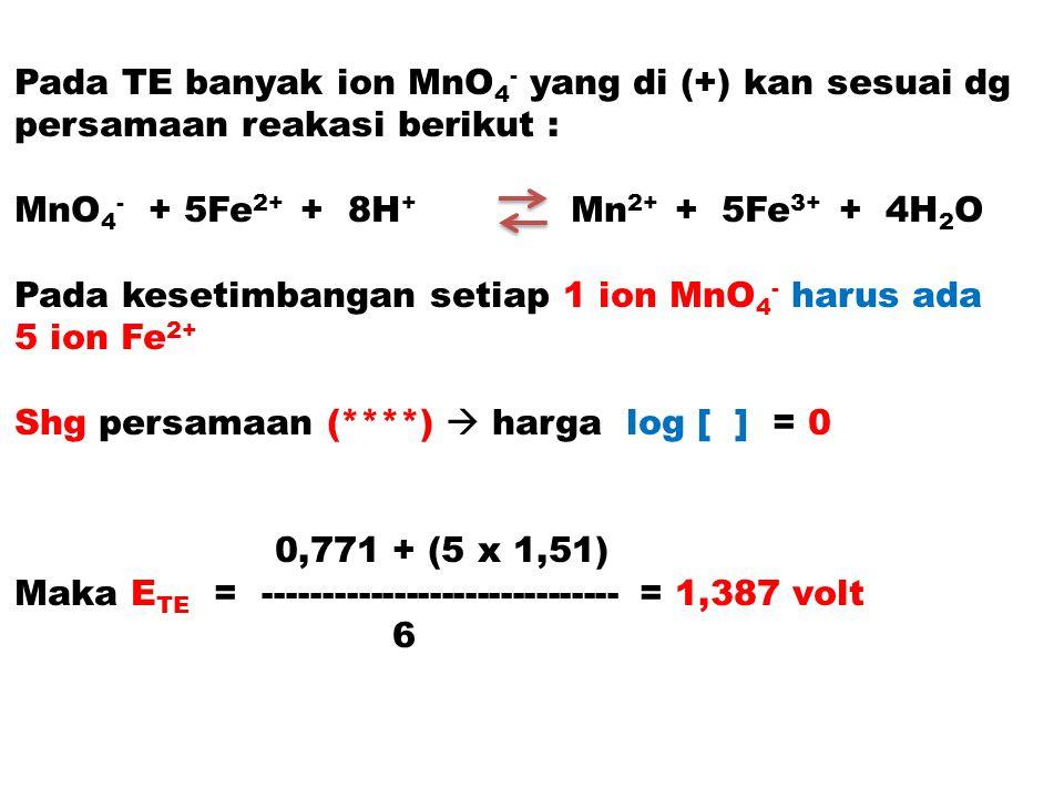Pada TE banyak ion MnO 4 - yang di (+) kan sesuai dg persamaan reakasi berikut : MnO 4 - + 5Fe 2+ + 8H + Mn 2+ + 5Fe 3+ + 4H 2 O Pada kesetimbangan se