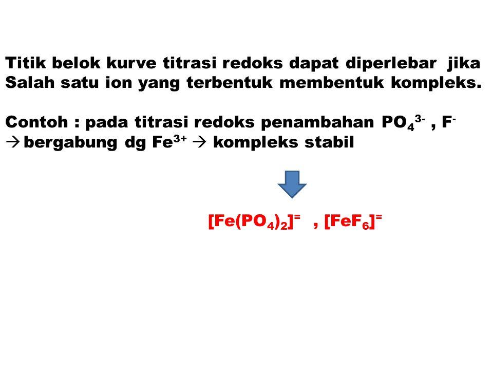 Titik belok kurve titrasi redoks dapat diperlebar jika Salah satu ion yang terbentuk membentuk kompleks. Contoh : pada titrasi redoks penambahan PO 4