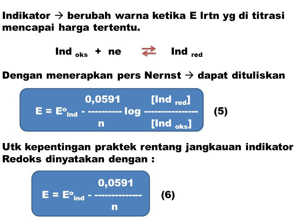 Indikator  berubah warna ketika E lrtn yg di titrasi mencapai harga tertentu. Ind oks + ne Ind red Dengan menerapkan pers Nernst  dapat dituliskan 0