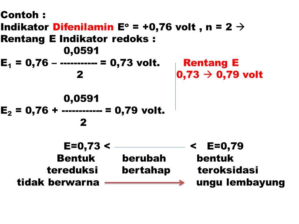 Contoh : Indikator Difenilamin E o = +0,76 volt, n = 2  Rentang E Indikator redoks : 0,0591 E 1 = 0,76 – ----------- = 0,73 volt. Rentang E 2 0,73 