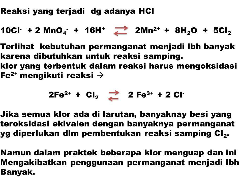 Reaksi yang terjadi dg adanya HCl 10Cl - + 2 MnO 4 - + 16H + 2Mn 2+ + 8H 2 O + 5Cl 2 Terlihat kebutuhan permanganat menjadi lbh banyak karena dibutuhk