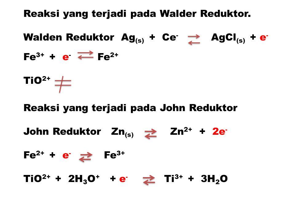 Reaksi yang terjadi pada Walder Reduktor. Walden Reduktor Ag (s) + Ce - AgCl (s) + e - Fe 3+ + e - Fe 2+ TiO 2+ Reaksi yang terjadi pada John Reduktor