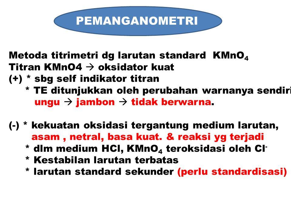 PEMANGANOMETRI Metoda titrimetri dg larutan standard KMnO 4 Titran KMnO4  oksidator kuat (+) * sbg self indikator titran * TE ditunjukkan oleh peruba