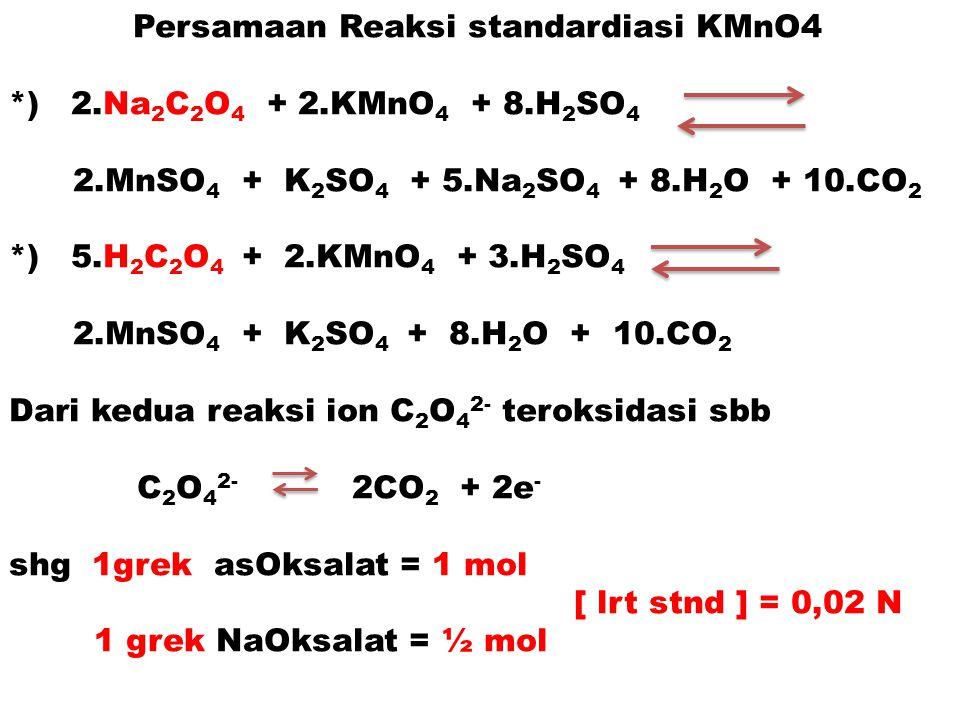 Persamaan Reaksi standardiasi KMnO4 *) 2.Na 2 C 2 O 4 + 2.KMnO 4 + 8.H 2 SO 4 2.MnSO 4 + K 2 SO 4 + 5.Na 2 SO 4 + 8.H 2 O + 10.CO 2 *) 5.H 2 C 2 O 4 +