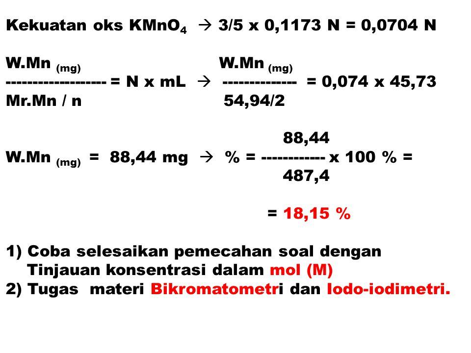 Kekuatan oks KMnO 4  3/5 x 0,1173 N = 0,0704 N W.Mn (mg) ------------------- = N x mL  -------------- = 0,074 x 45,73 Mr.Mn / n 54,94/2 88,44 W.Mn (